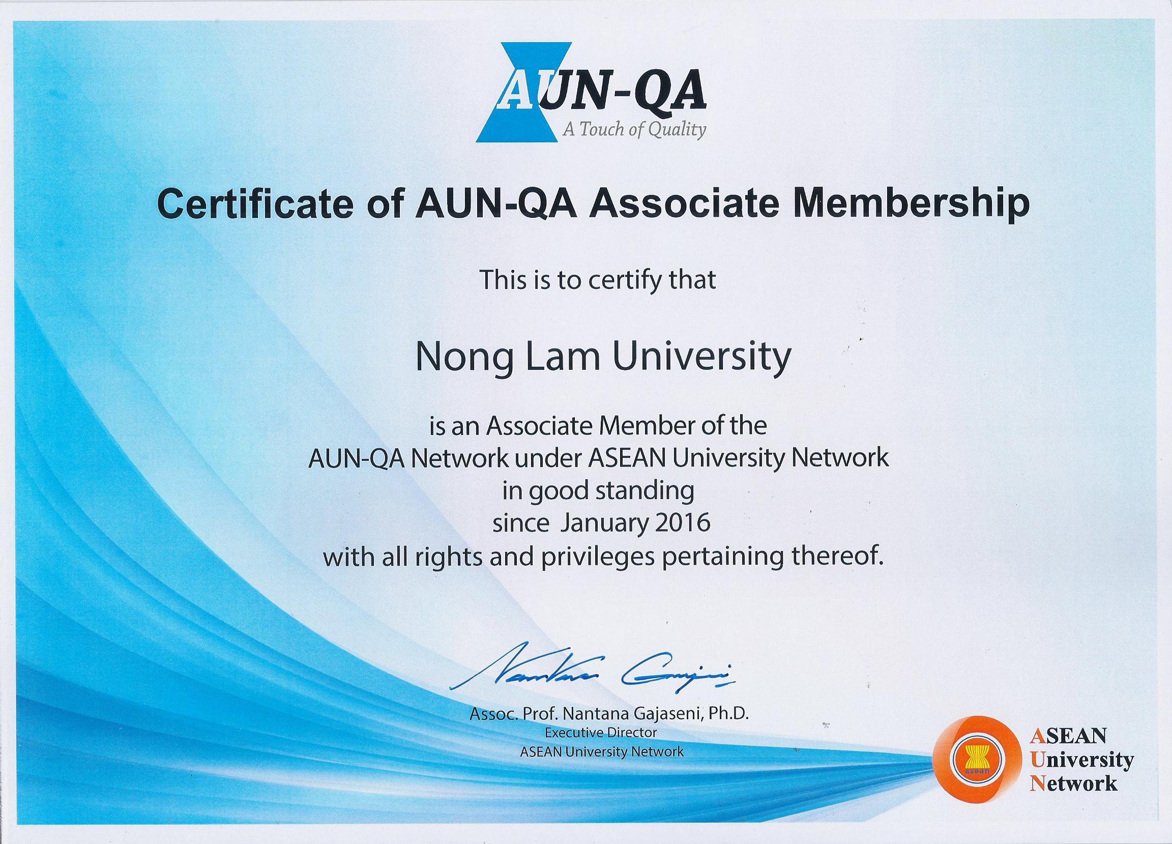 Giấy chứng nhận thành viên AUN-QA