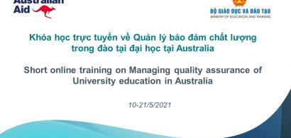 Khóa tập huấn trực tuyến về Quản lý bảo đảm chất lượng trong đào tại đại học tại Australia